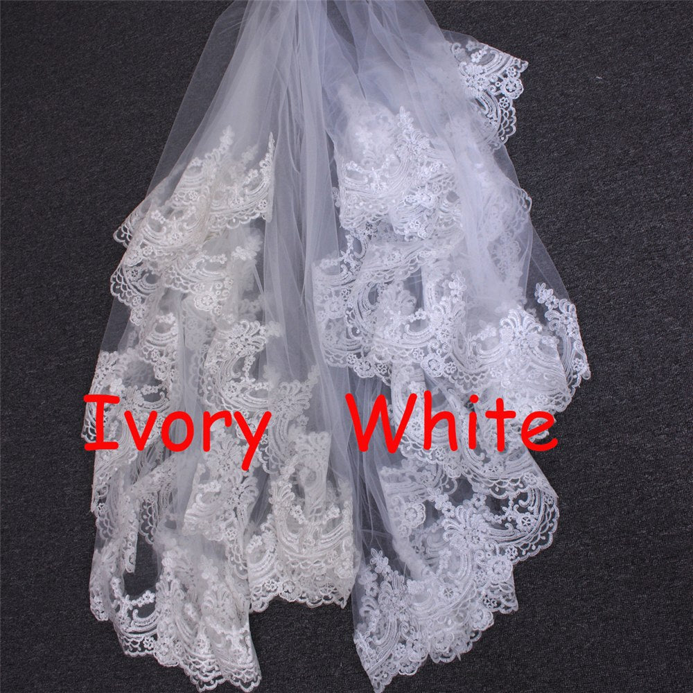 7ab345cb07 ... White Ivory 3M Cathedral Length Lace Edge Bridal Head Veil With Comb  Long Wedding Veil ...
