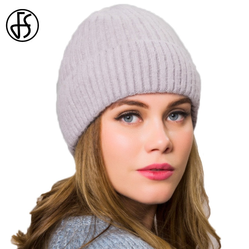 FS Cashmere Beanies Ladies Winter Warm Knitted Hat Plus Thick Velvet  Elegant Pregnant Women Hats Female ... 371d8828483
