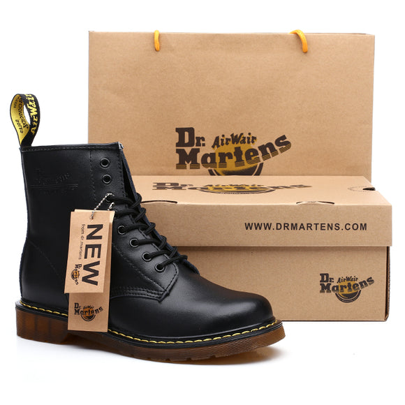Brand Men's Boots Dr. Martens Leather Winter Warm Shoes Motorcycle Mens Ankle Boot Doc Martins Fur Men Oxfords Shoe Black 1460