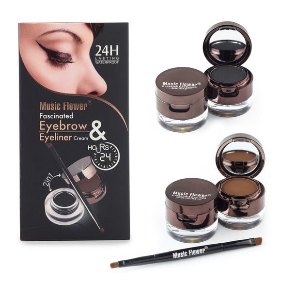 Music Flower Brand Brown + Black Gel Eyeliner Eyebrow Powder Makeup Set Kit Waterproof Long Lasting Eye Liner Eye Brow Cosmetics-Makeup-Zodeys-Black-Zodeys