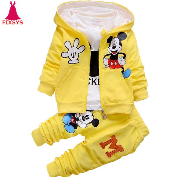 New Baby Boys Clothes Set Minnie Mickey Cartoon Kids Girls Tracksuit Clothing Suits Autumn 3Pcs Sets Hooded Coat Toddler 0-4T