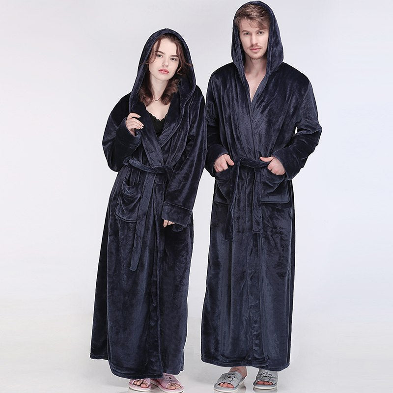 ... Men Women Winter Hooded Extra Long Thick Flannel Warm Bath Robe Plus  Size Luxury Soft Thermal ... 3973cf08d
