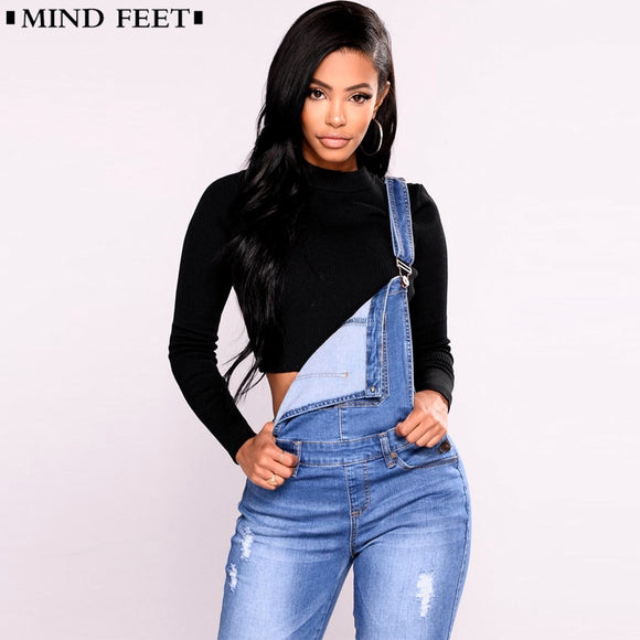 MIND FEET Women Overalls Straps Jeans Female Basic Classic Pencil Blue Denim Pants Ripped Hole Stretch Rompers Jumpsuit Jeans