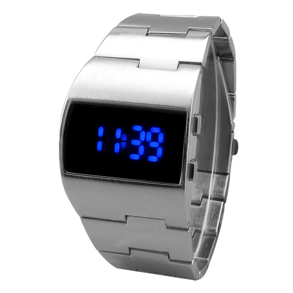 2018 Unique Iron Men's watch Stainless Steel Blue Red Digital LED luxury military Fashion sport Dress Wrist Watch New Male clock