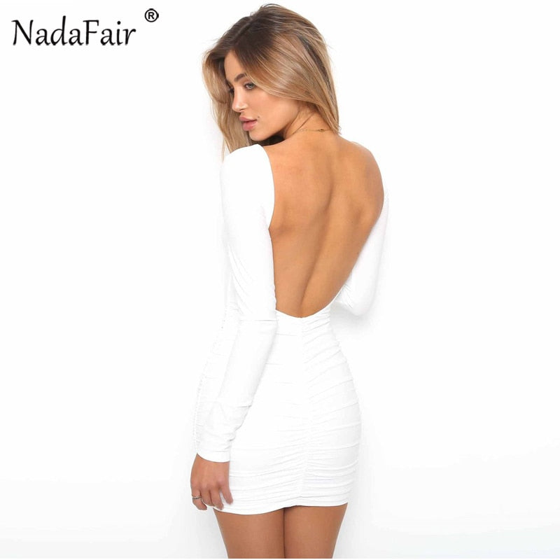 49516dde8296 Nadafair Backless Long Sleeve Wrap Bodycon Low Cut Sexy Club Dress Women  White Black Mini Party