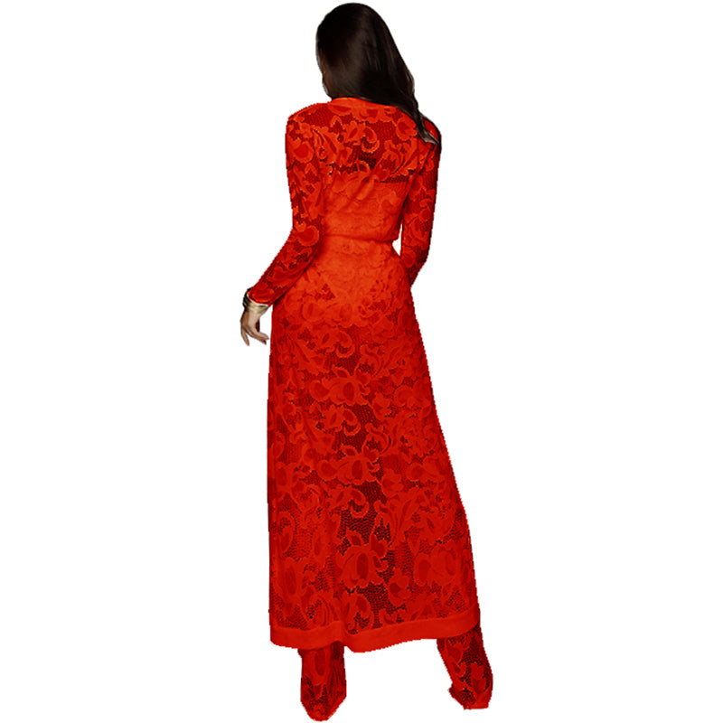 8ce215e16f Sexy Women Lace 3 piece Set Strapless Tank Top Sheer Wide Leg Pants  Cardigan Cover-
