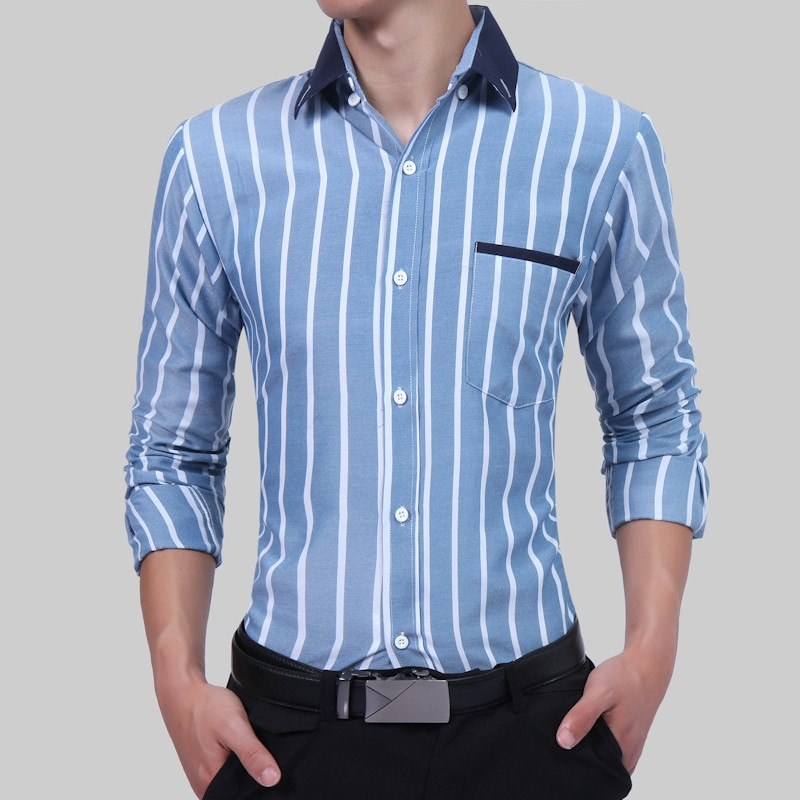 5496188aeef Men s Long Sleeve Contrast Plaid Striped Oxford Dress Shirt With Left Chest  Pocket Casual Slim