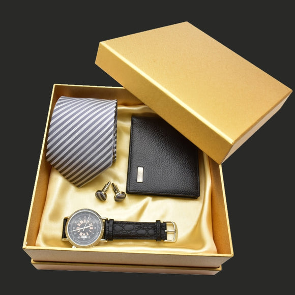 2018 Luxury Men Watch Gift Set Top Quality Tie Cufflinks Wallet Wrist Watch Classic Business Men Gift Set New Year Gift With Box
