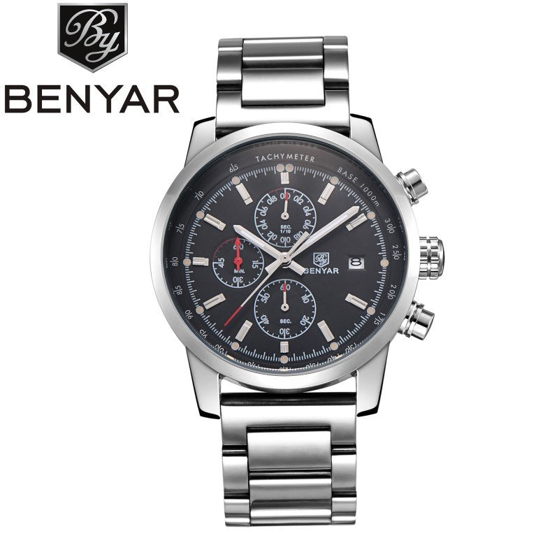 b97588c2cb7 ... BENYAR Brand Fashion Chronograph Sport Watches Reloj Hombre Stainless  Steel Strap Quartz Military Watch Clock Relogio ...