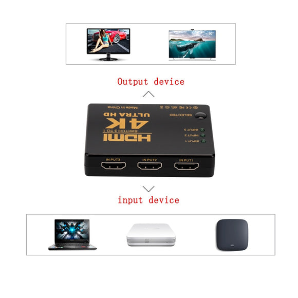 HOT SALE HDMI Switch 3 Port 4K*2K Ultra HD Switcher Splitter Box for DVD HDTV Xbox PS3 PS4