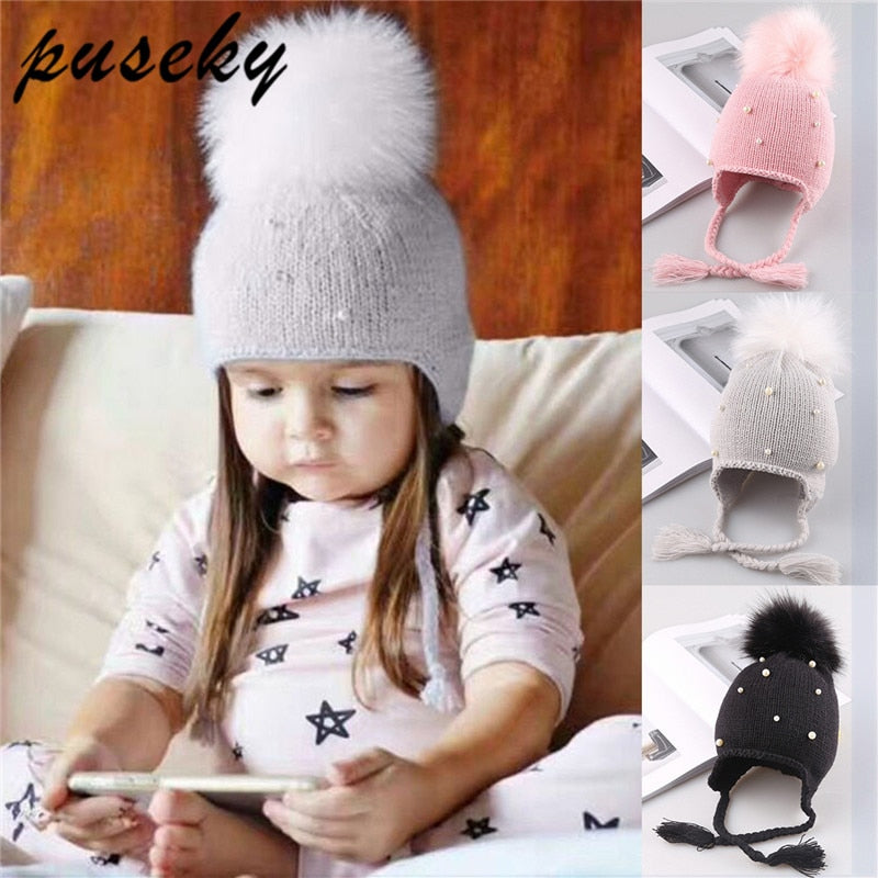 3d72660bf83 Puseky Baby Winter Hat Fur Pompom Caps bonnet enfant Toddler Boys Girls  Knitted Cap Cotton Protect