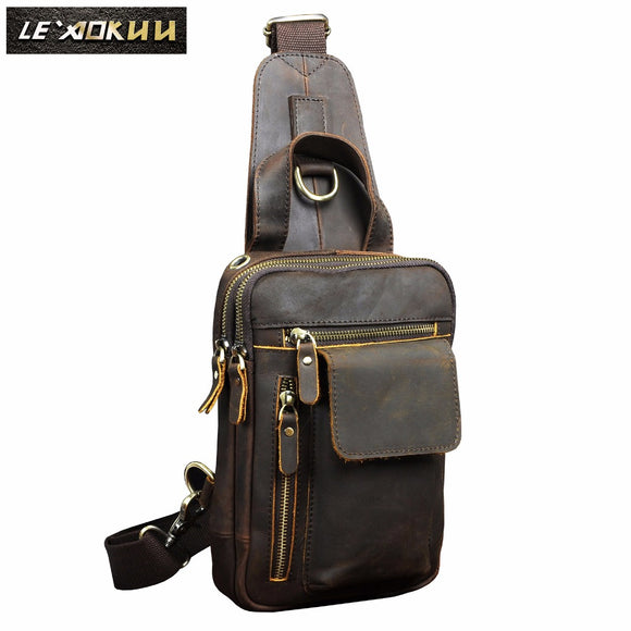 Quality Men Crazy Horse Leather Fashion Sling Chest Bag Design Travel Triangle Cross body Bag Daypack 8