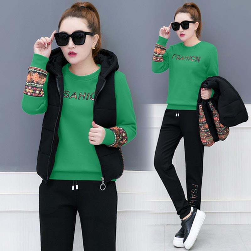 20c88d796b19ba Black Velvet Tracksuit Women 3 Piece Set Pants Suits Top Vest 2 Piece  Outfits Hooded Warm