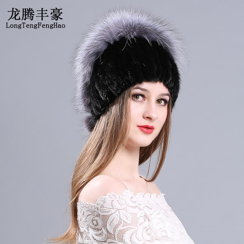 ... 2017 winter caps mink fur hats silver fox fur beanies hat with pom pom Genuine  fur ... d1e8a8b608b