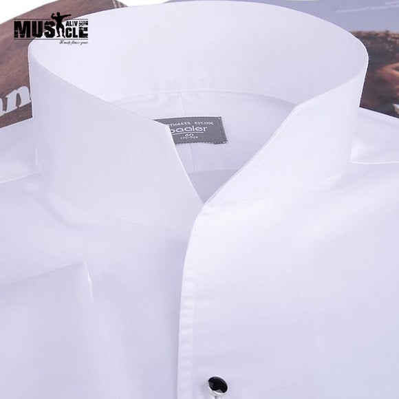 Men's  Fashion Tuxedo Shirt,French cufflinks banquet, long-sleeve shirt classic stand collar 100% cotton High Quality Gurantee