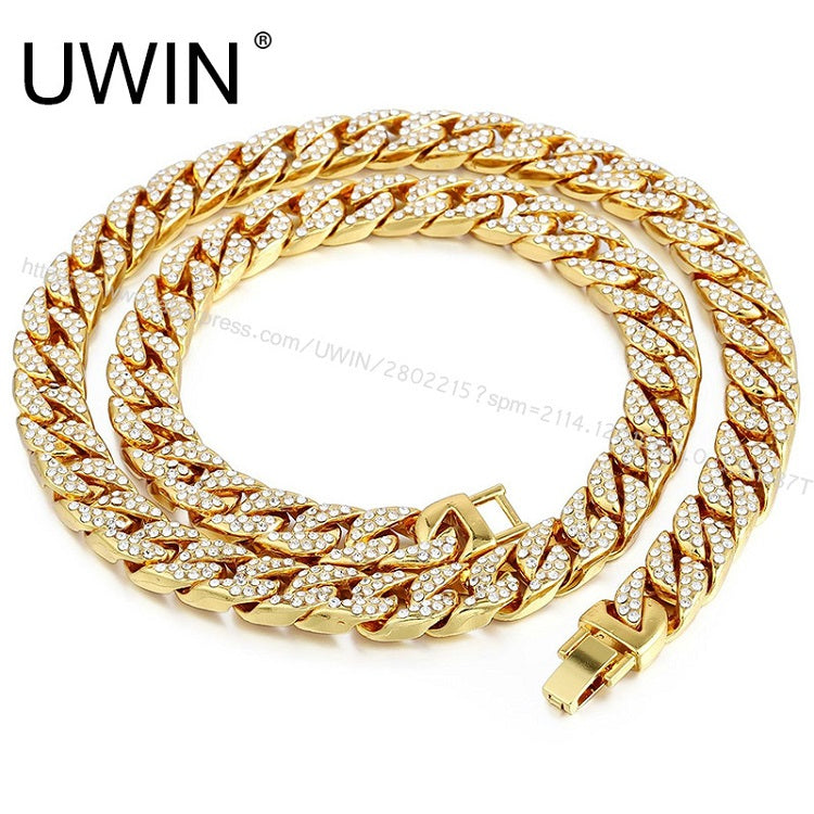 Uwin 15Mm Iced Out Men s Miami Cuban Link Chain Necklace Gold Silver B –  Zodeys 6587e935304d