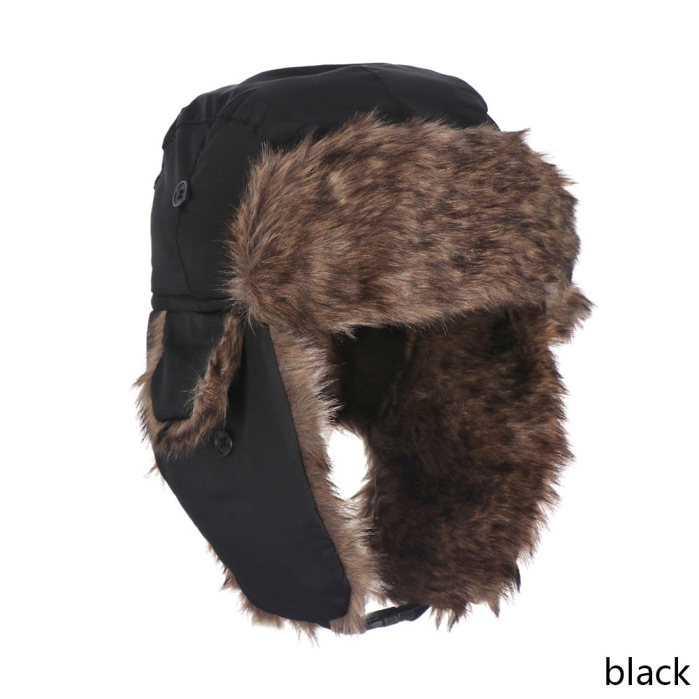 0c52bdd60e2 ... Men s Men s Men s Adult Men Pilot Trapper Cap Winter Trooper Earflap  Warm Russian Ski Snow Hat ...