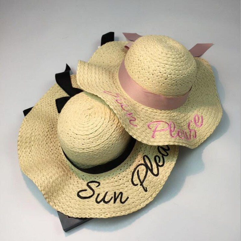 a41b96d09b6 2018 letter embroidery cap Big brim Ladies summer straw hat youth hats for women  Shade sun ...