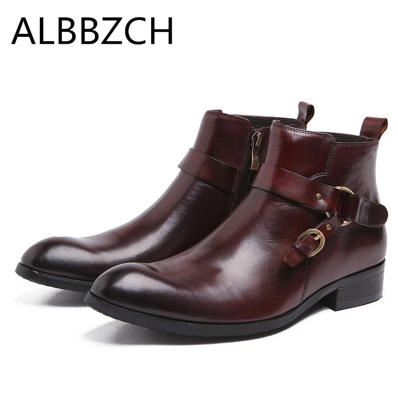 b1e274fc598 Spring autumn men s genuine leather ankle boots men fashion buckle design  high quality office work boots
