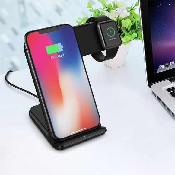 Qi Wireless 2in1 10W Fast Charger Charging Holder Pad Dock Stand for Apple Watch Series 4 40/44mm for iPhone X/XS /XS MAX/XR 101