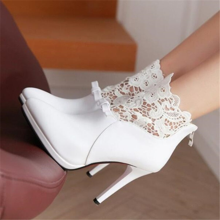 0e8d00cd255 PXELENA Elegant Lace Women Wedding Boots Bride Shoes White Red Black  Stiletto High Heels Sexy Ankle