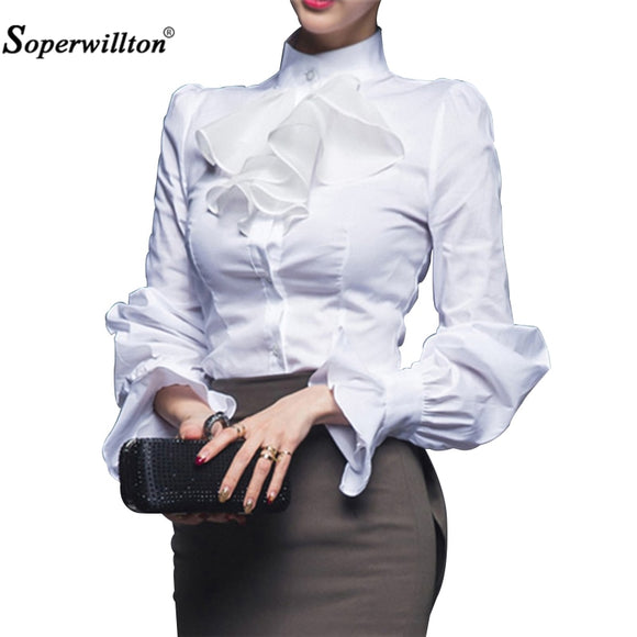 New 2018 Quality Spring Autumn Women Blouse Ladies White Office Work Wear Fashion Elegant Ruffles Long Sleeve Bodysuit Shirt #D