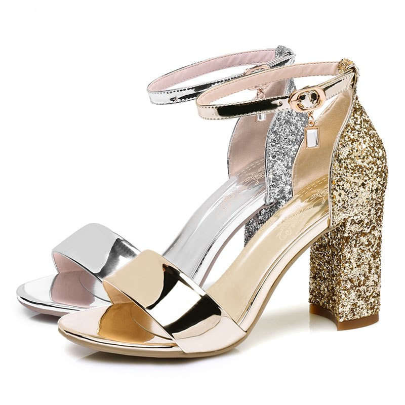7c16891b4ae Fanyuan mature bride Wedding Glitter Sandals Summer High-Heeled Ankle strap  Sandals sexy lady Party
