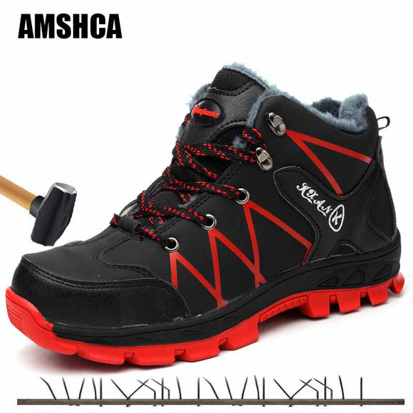 Waterproof Winter Safety Shoes Boots for Men Casual Snow Warm Fur Work Indestructible Boots Steel Toe Men's Boots Black 45 46 47