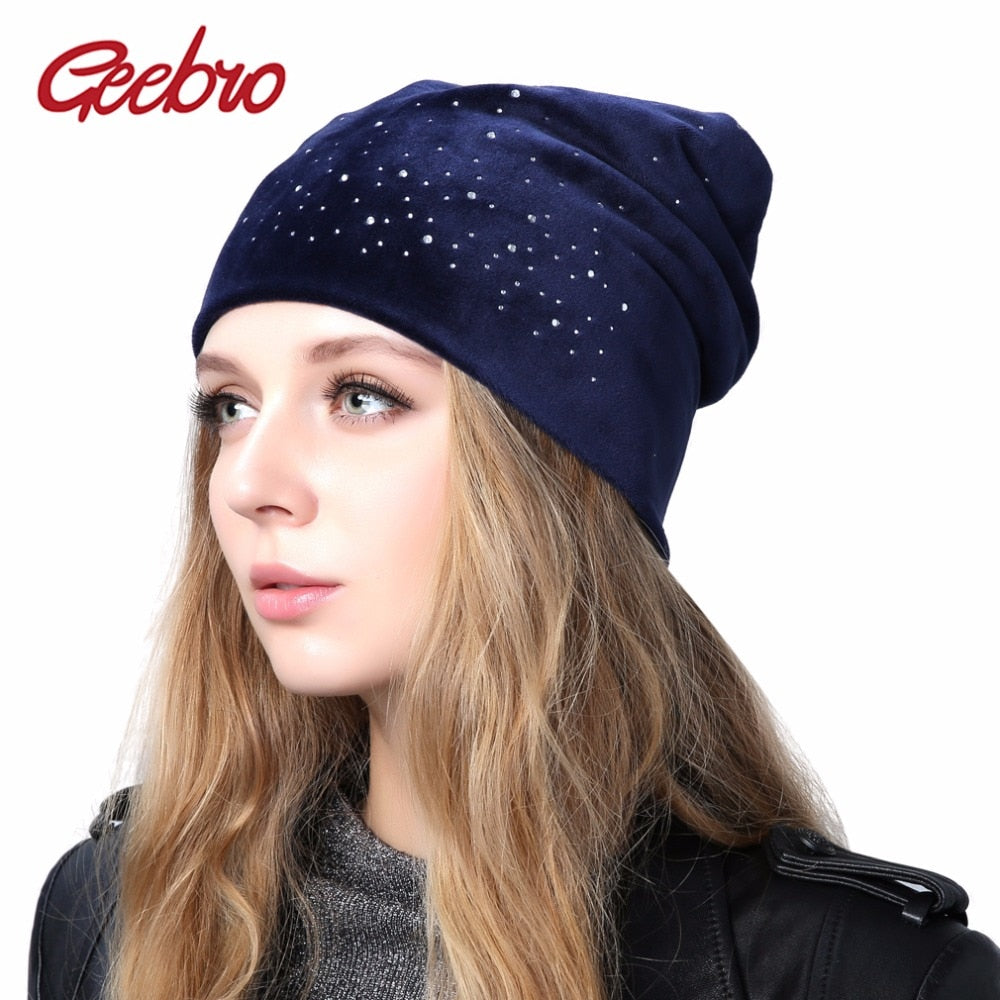 67208040a2c Geebro Women s Velour Rhinestones Beanies Hat 2018 Spring Polyester Slouchy  Beanie for Women Plain Color Skullies
