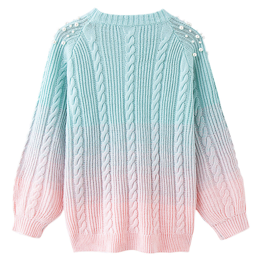 971b6424606 LANGSTAR Plus Size Pearl Sweater Round Collar Beaded Color Blocking Soft  Loose Knitting Thick Women Sweater