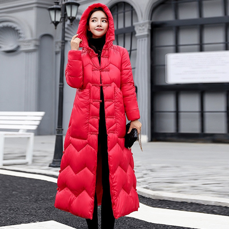 6c0e512cd2a 2018 down parkas female winter coat new style x-long bread clothing loose  large size