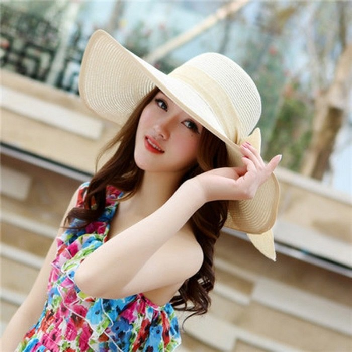 77ffb983e08 ... 2018 ladies summer hats with brim new brand straw hats for women beach  sun hats floppy