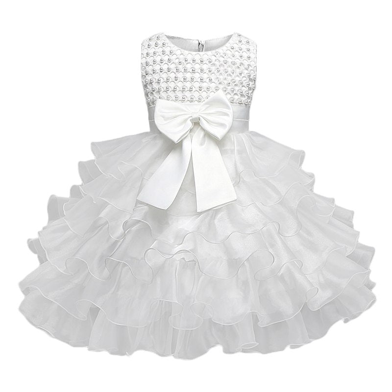a11e398bd Toddler Girl Christening Gown Dress Infant Baptism Clothes Kids Party
