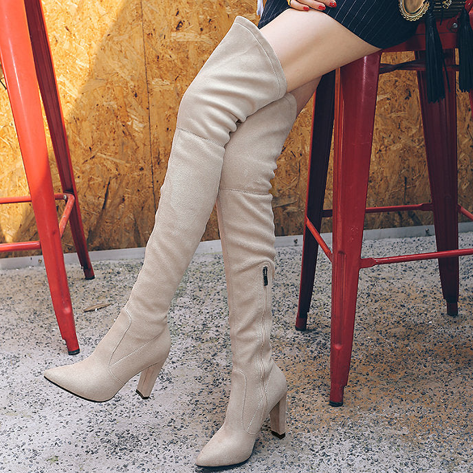 703727ee7269 Thigh High Boots For Women Faux Suede Winter Stretch Over The Knee Boo