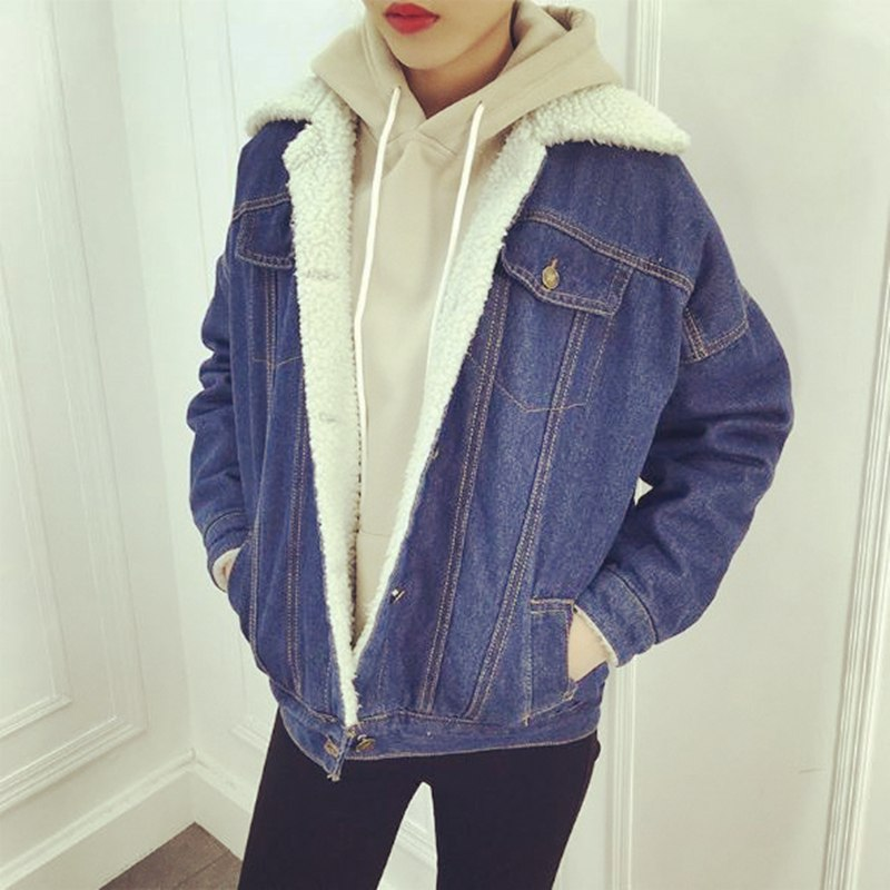 a9d95fc9462 Winter Jacket Women 2017 Casual Denim Jacket Long Sleeve Cotton Sherpa Lined  Warm Jeans Coat Outwear