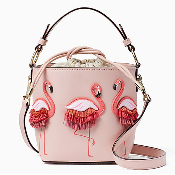 Personality Flamingo Women Handbags 2018 Cute String Bucket Messenger Bag for Women PU Leather Shoulder Bags Bolsa Feminina Tote