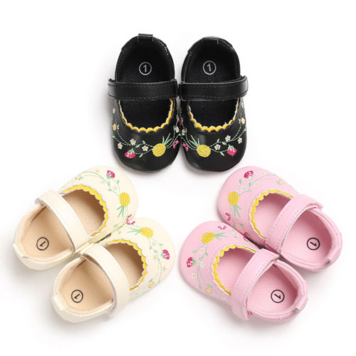 FOCUSNORM Kid Newborn Infants Baby Girl Soft Crib Shoes Flower Prewalker Sole Shoes 0-18M Baby Crib Shoes
