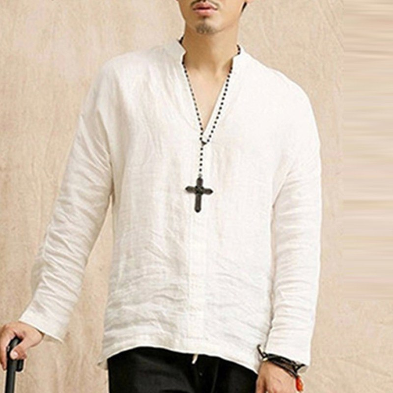 38d952ddca7 2018 Spring Summer Chinese Shirt Men Vintage Style Men s Shirt V-neck Long  Sleeve Thin