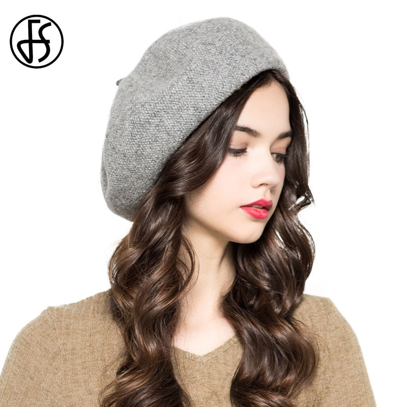 FS Winter Vintage Gray Pink Blue Wool Beret Hat For Women British French  Berets Cap For c7b5f915aa1