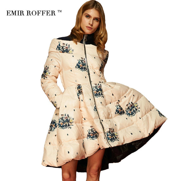 EMIR ROFFER 2018 High Quality Floral Print Women's Down Jacket Parka Princess Skirt Off Shoulder Female Winter Coats Clothes