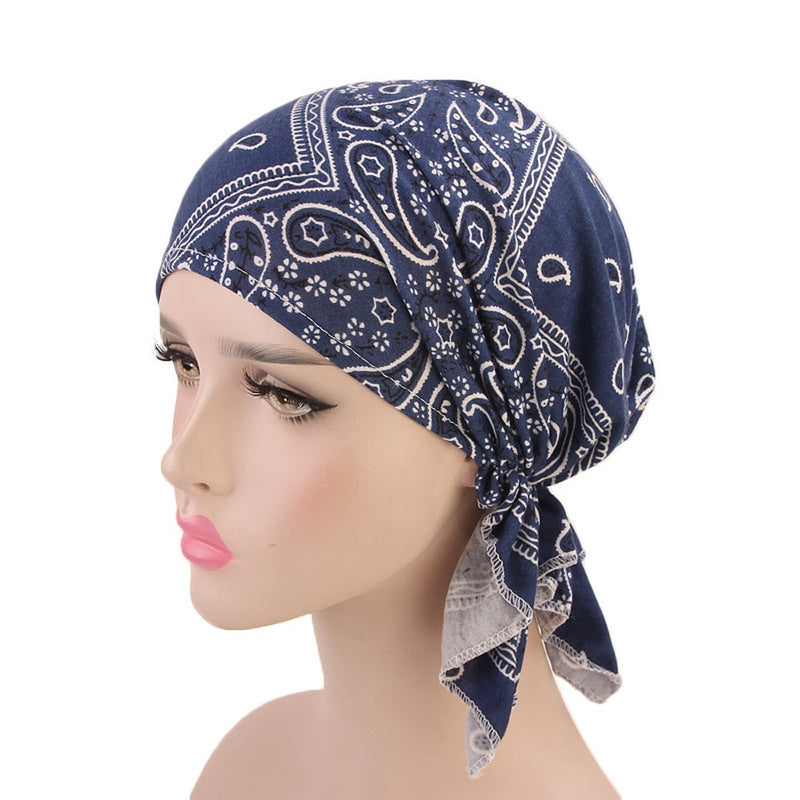 c85e9ff6bfe Muslim Female Hats for Women Headscarf Paisley Print Turban Chemotherapy Wrap  Caps for Ladies Girls Cancer
