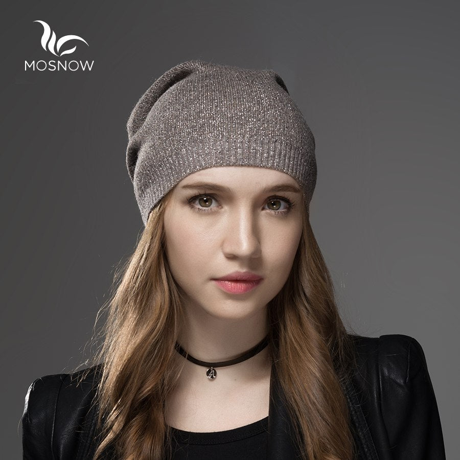 4ca3a17983e Mosnow Hat Female Wool Cashmere Winter Hats For Women Beanies High Quality  Warm Women s Brand Casual