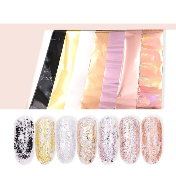 10Pcs Laser Matte Starry Nail Stickers Nail Foils Holographic Rose Gold Silver Nail Wraps Decals Manicure Nail Art Decorations