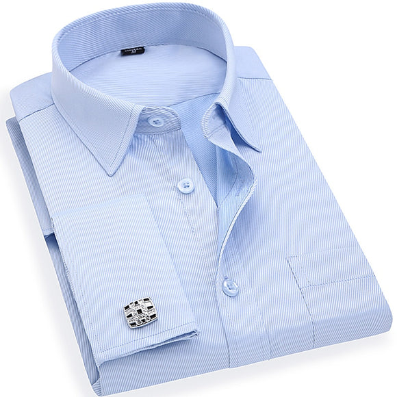 Men 's French Cufflinks Business Dress Shirts Long Sleeves White Blue Twill Asian Size S, M, L, XL, XXL, 3XL, 4XL, 5XL, 6XL