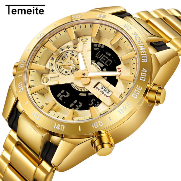 Temeite Brand Gold Mens Quartz Watches Sport Digital Watch Men LED Dual Display Wristwatch Waterproof Luminous Relogio Masculino