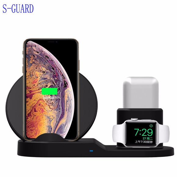 Qi Wireless Charger Pad for apple watch iwatch 1234 for iphone X XS Max XR 8 plus support fast charging stand repair for Airpods