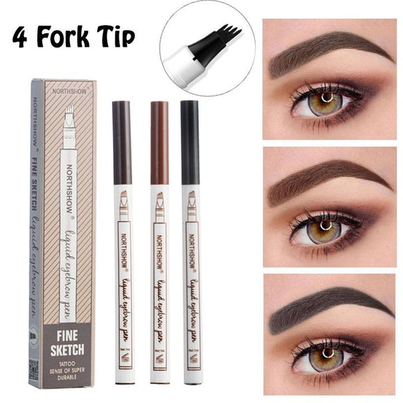 4 Head Fine Sketch Eyebrow Pen Makeup Tools Waterproof Microblading Eyebrow Tattoo Pen Fork Tip Eyebrow Pencils Tint Enhancer-Makeup-Zodeys-3 Fork Tip 1-Zodeys