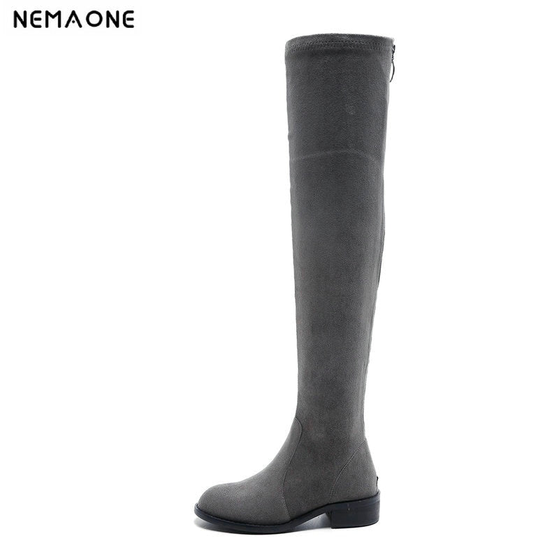 29d6847d5ac NemaoNe zipper Thigh High Boots Female Winter Boots Women Over the Knee  Boots Flat Stretch Sexy. Hover to zoom ...