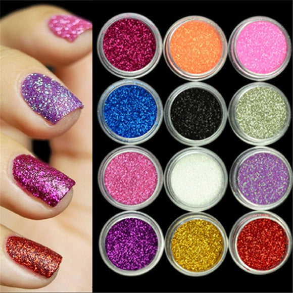 12 Colors/Set ANGNYA Nail Art Acrylic Round 3D Rhombus Glitter Shape Sequins Powder Hexagon Sparkly  Design Tool Decoration