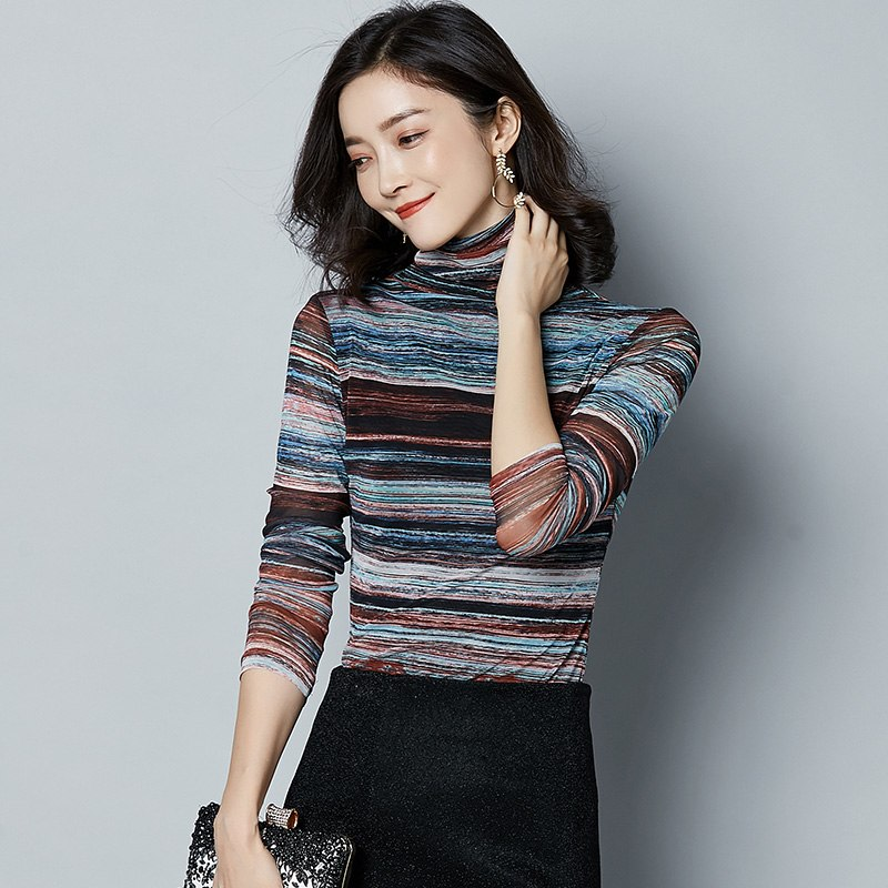 5a9e64d040f61 Harajuku plus size women tops clothes knitting mesh comfy blouses shirt  turtleneck long sleeve women rainbow
